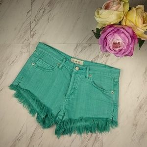 NWOT We the Free Green Cut Off Fringe Shorts SZ24
